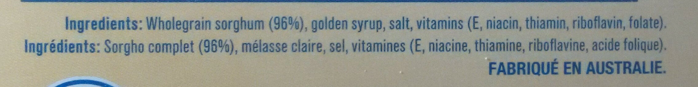 Gluten Free Weet-Bix - Ingredients