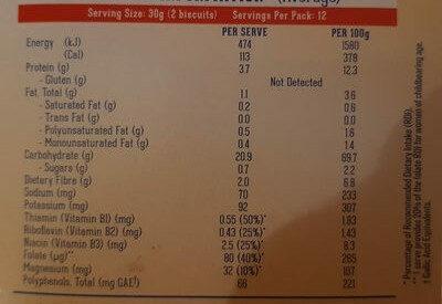 Gluten Free Weet-Bix - Voedingswaarden - en