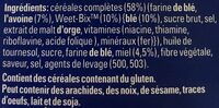 Sanit Weet-bix Go Hny &oat250gm - Ingredients - fr