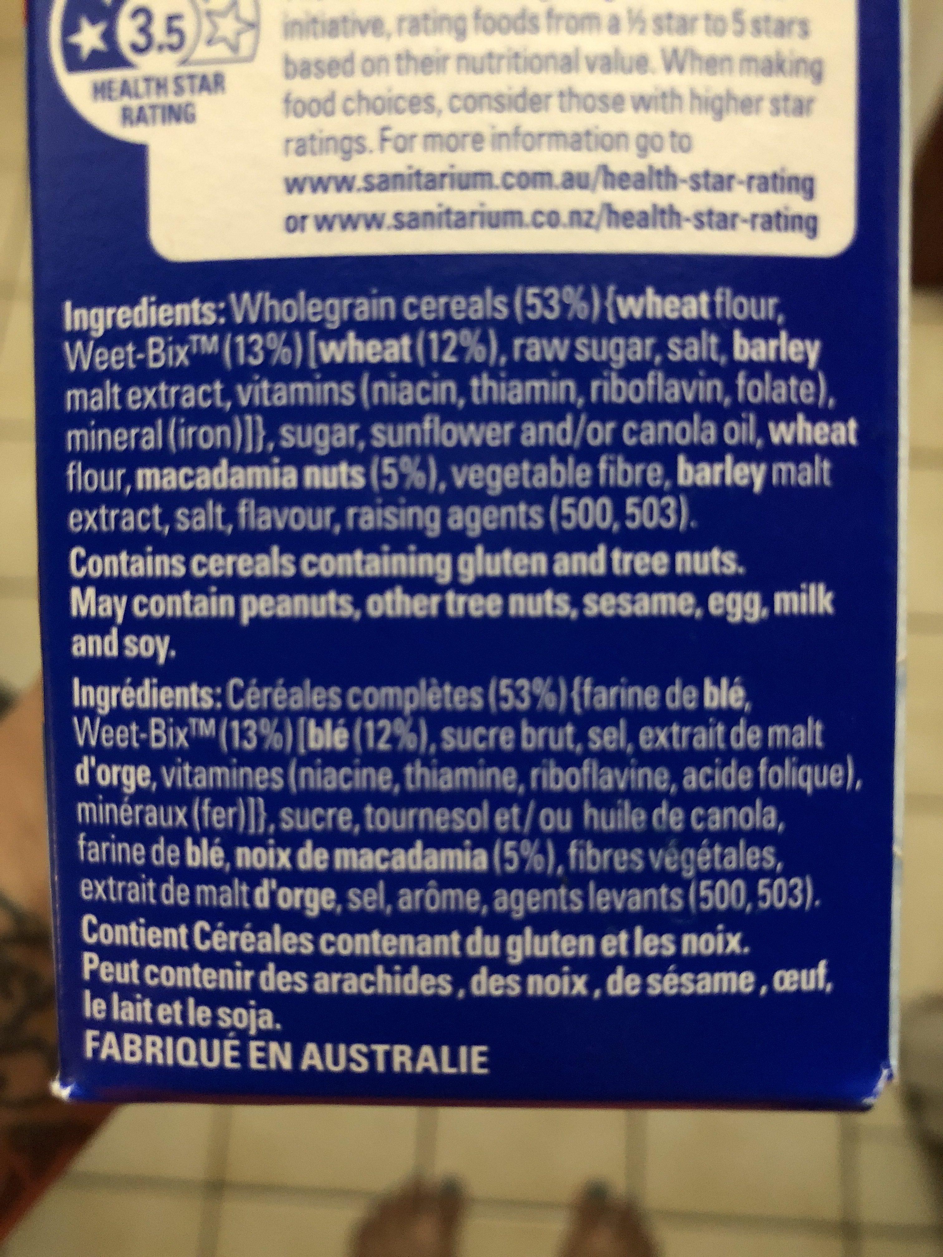 Weet bix go - Ingredients