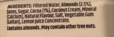 Almond milk dark chocolate - Ingredients