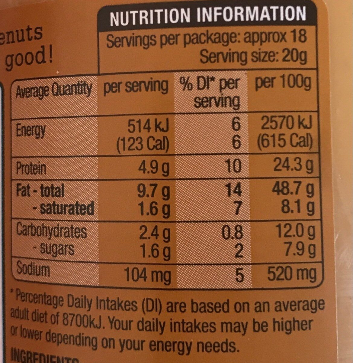 Australian Peanuts - Nutrition facts - en