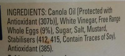 Original Mayonnaise - Ingredients