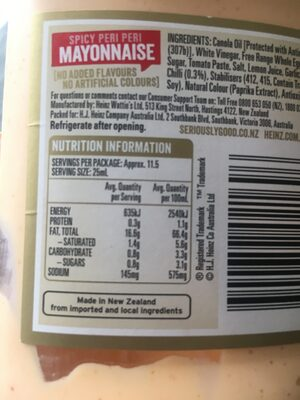 Spicy peri peri mayonnaise - Nutrition facts