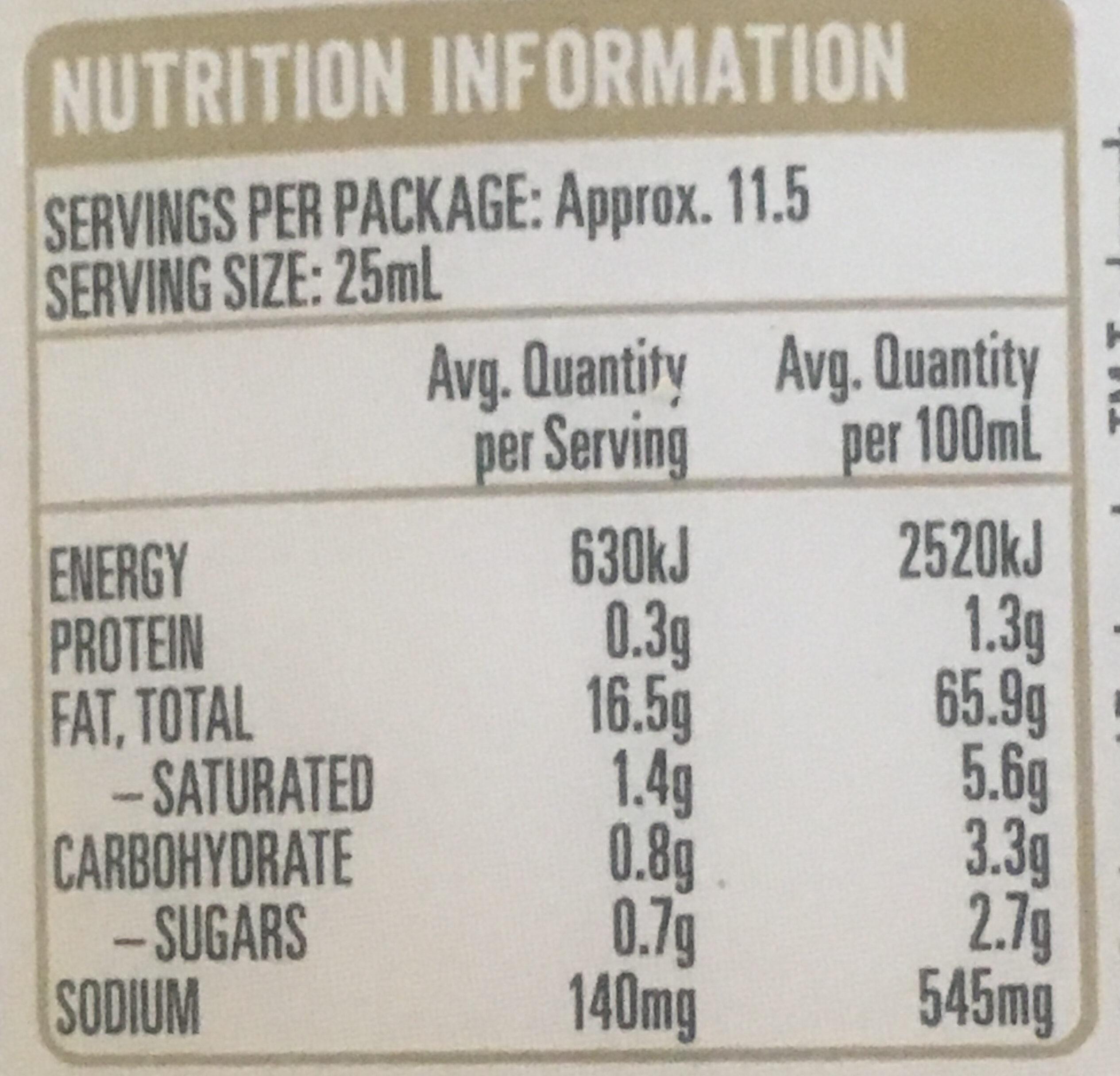 Garlic Lovers Aioli - Nutrition facts - en