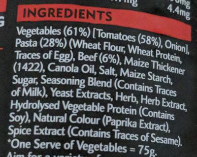Heinz Big'N Chunky Beef Bolognese - Ingredients