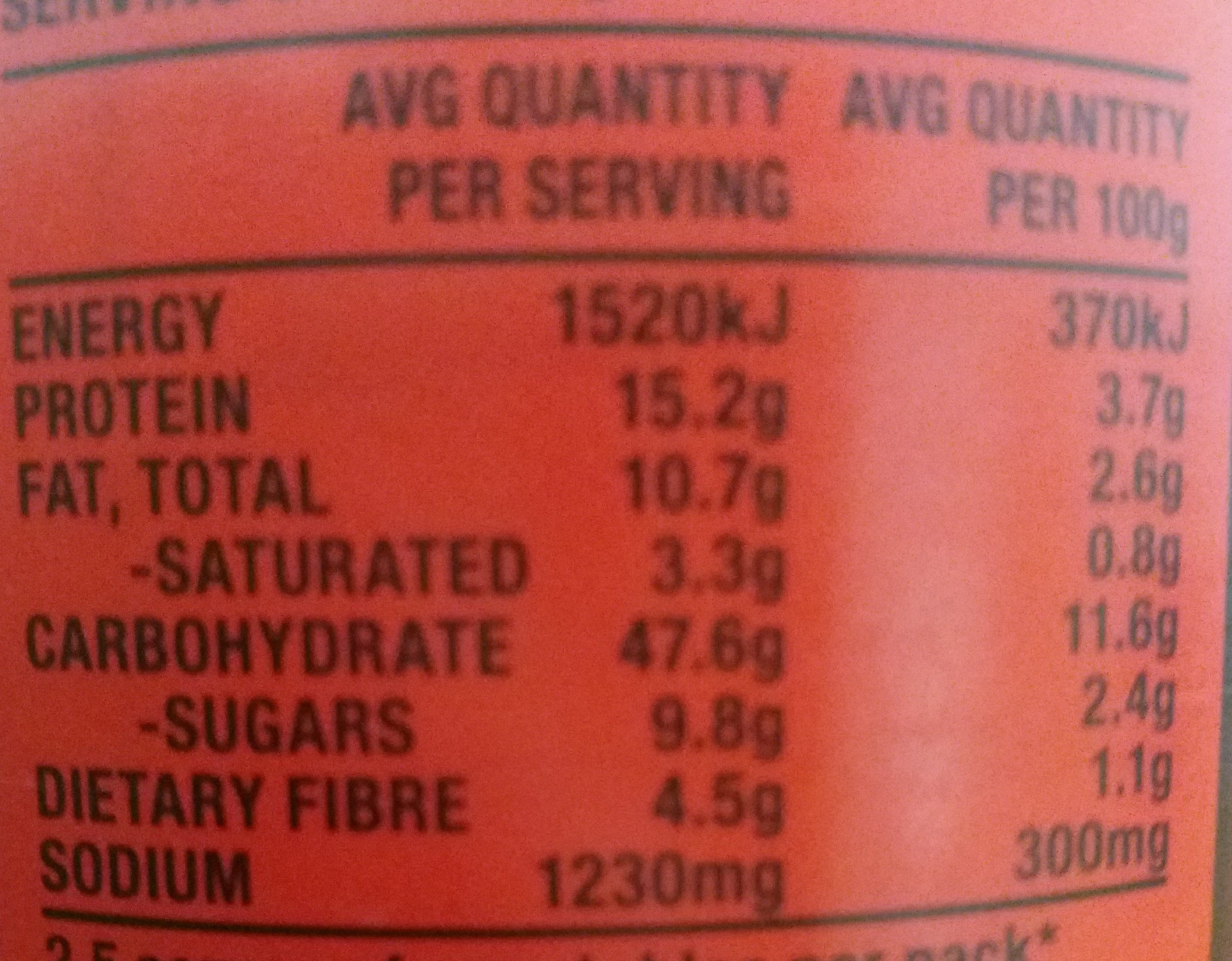 Big Eat Ravioli bolognese - Nutrition facts