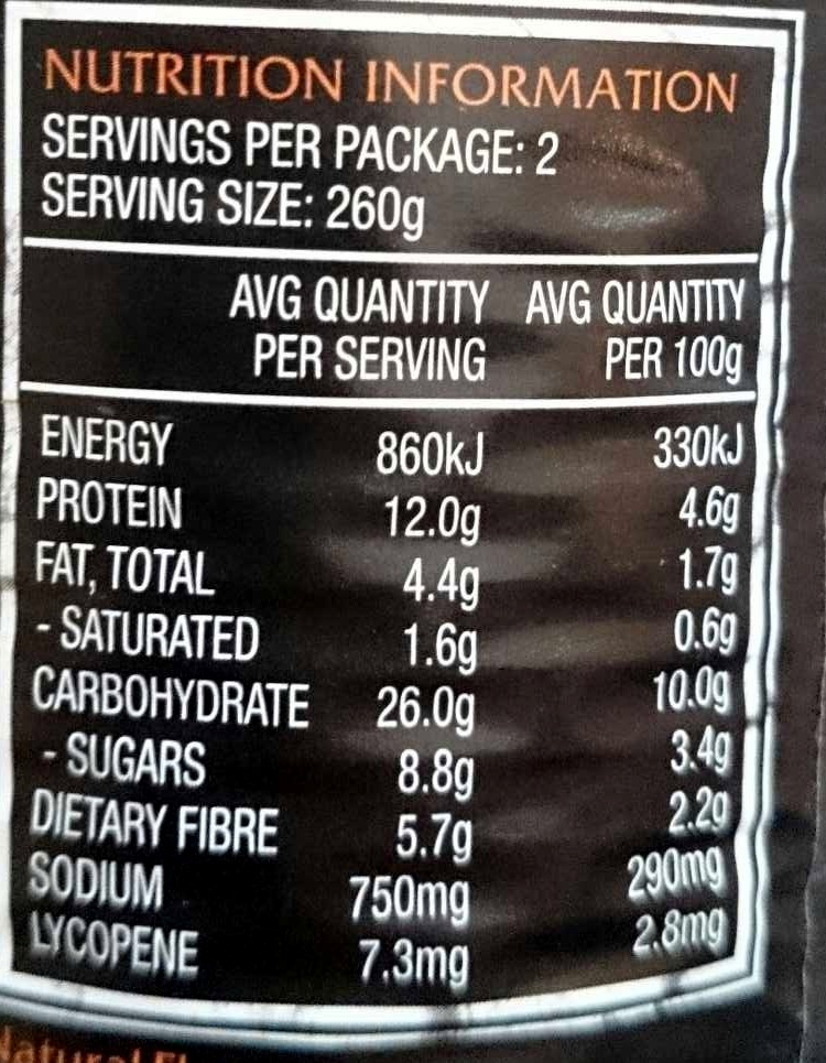Big N Chunky Chilli Beef - Nutrition facts - en