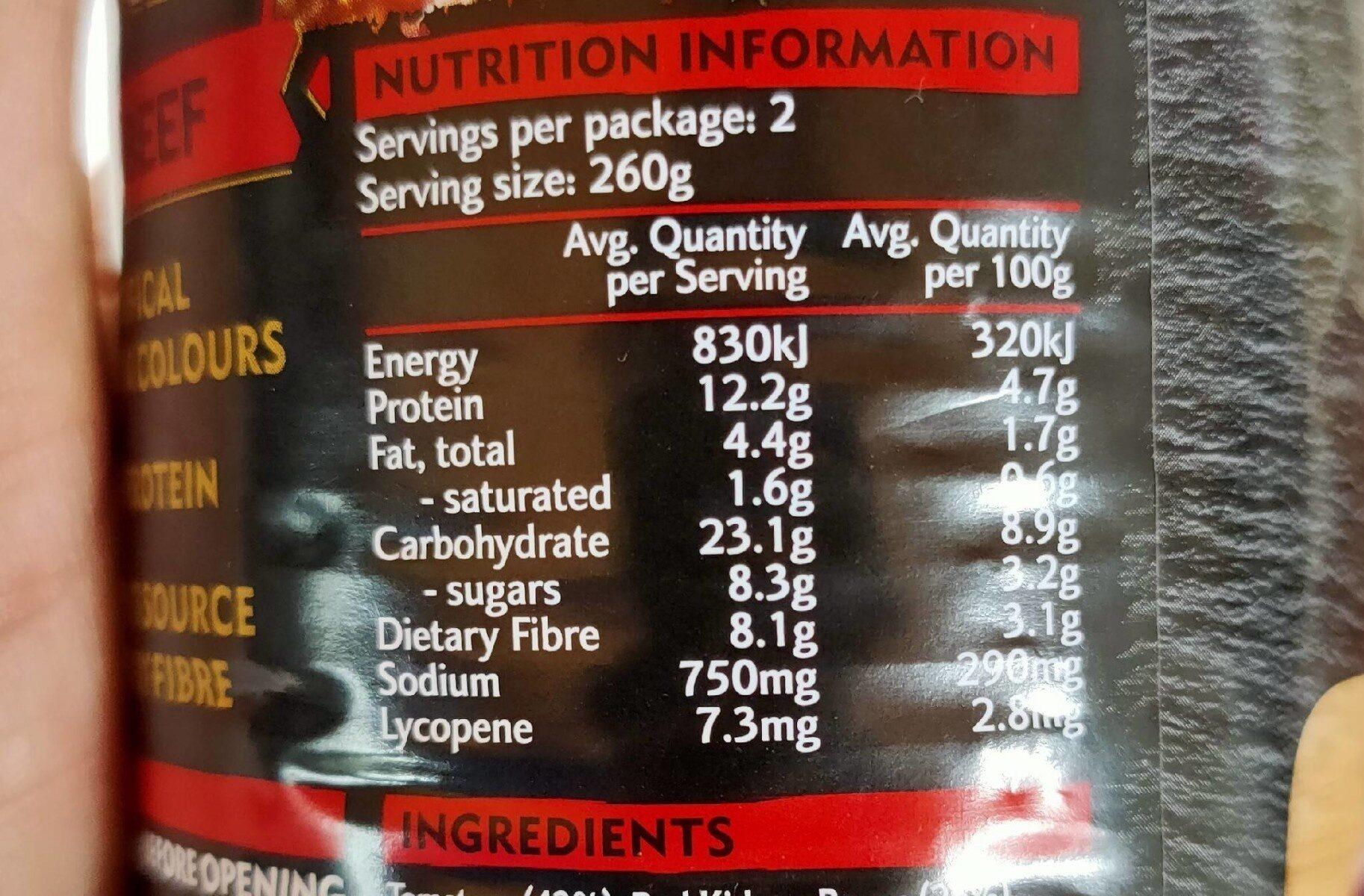 Chili Beef - Voedingswaarden - en