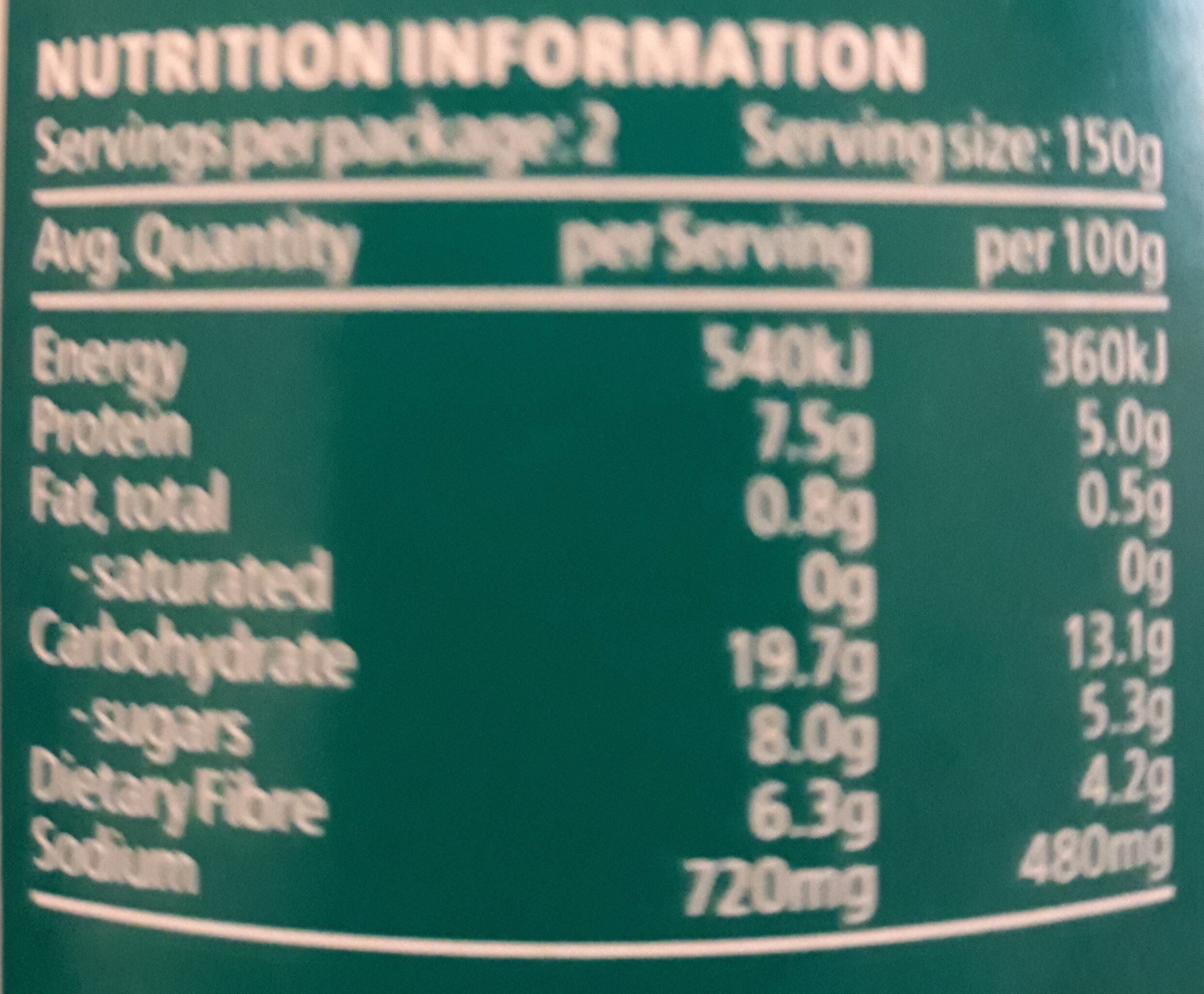 English Recipe - Nutrition facts - en