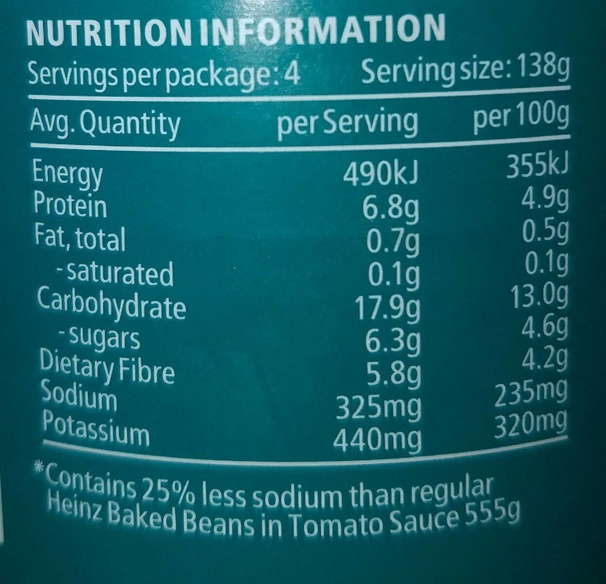 Heinz Beanz Salt Reduced - Valori nutrizionali - en