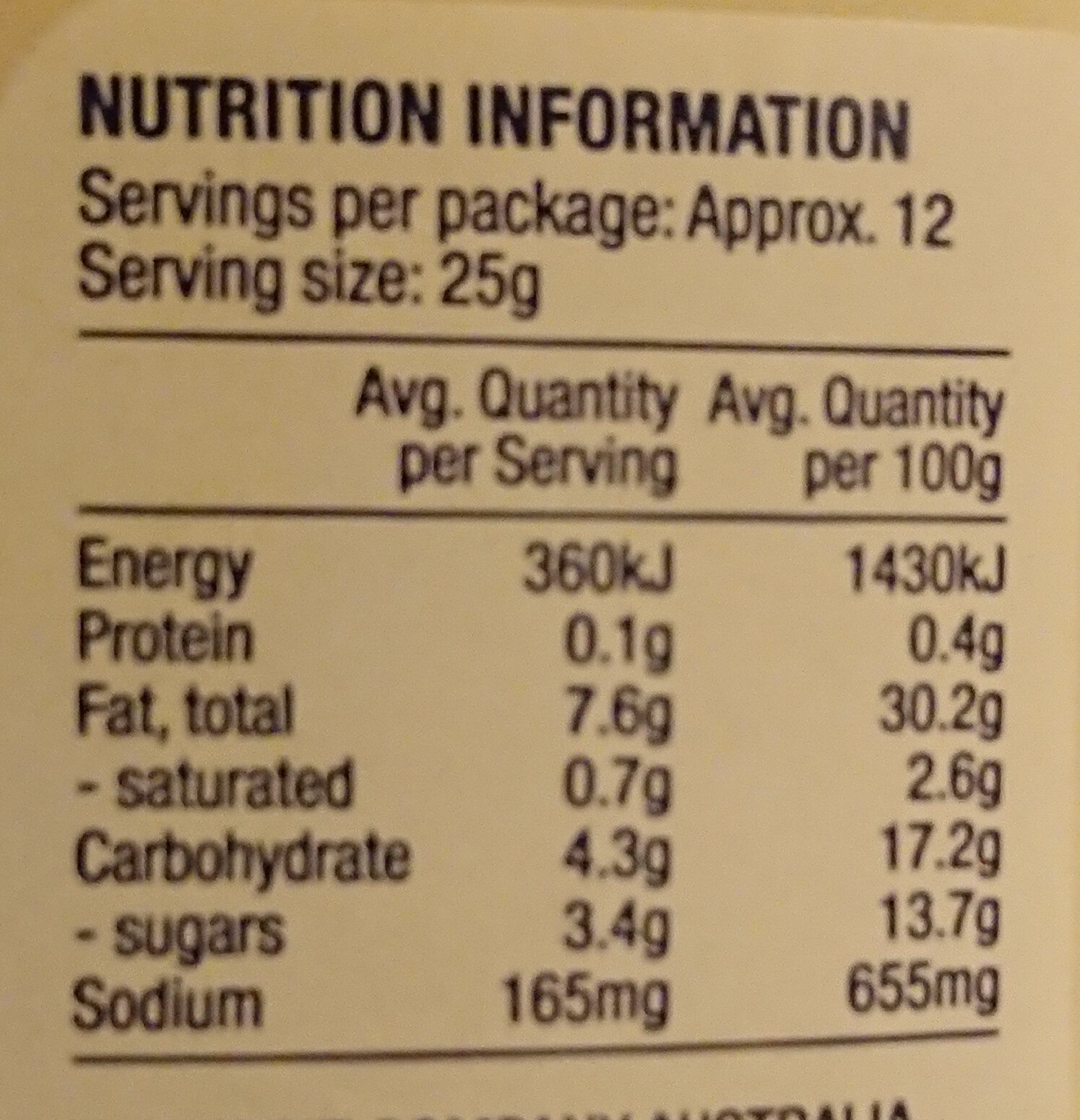 Classic MAYO - Nutrition facts