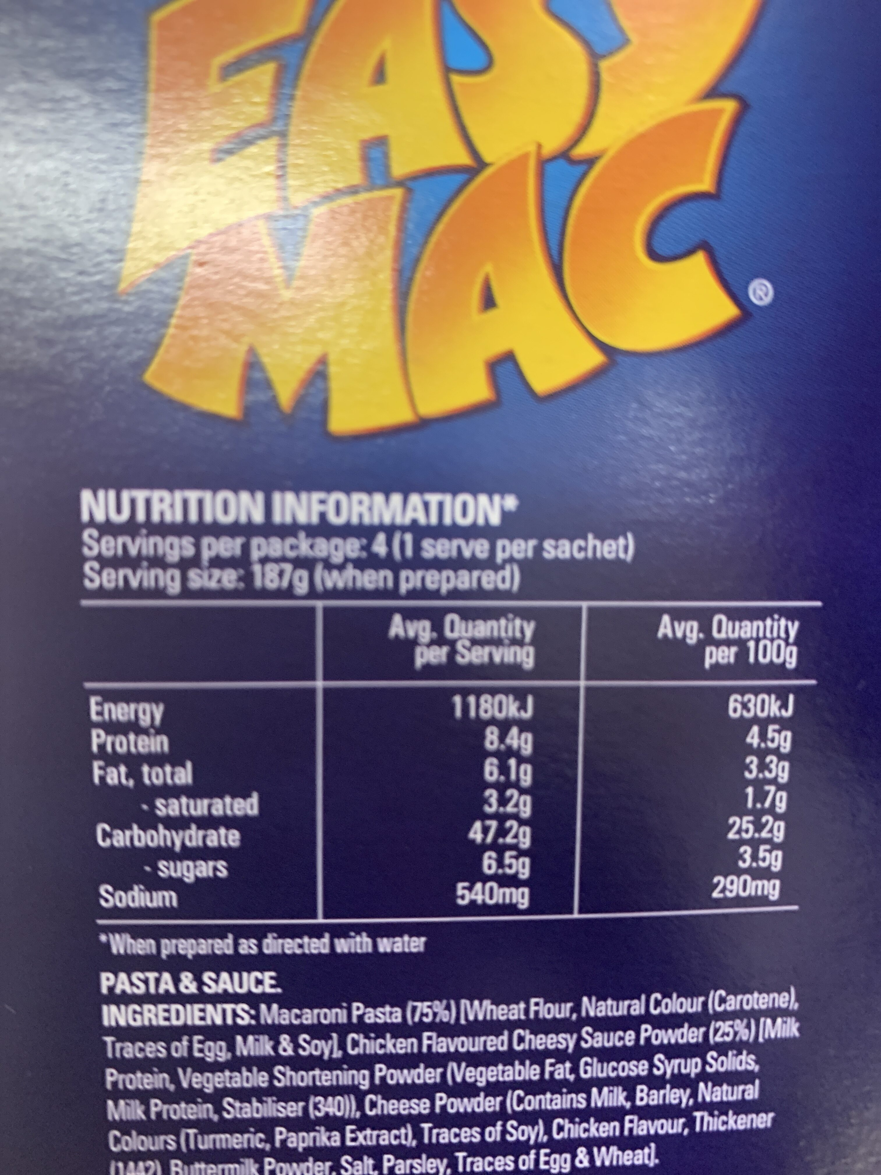 Easy Mac Cheesy Chicken Flavour 4 pack - Voedingswaarden - en