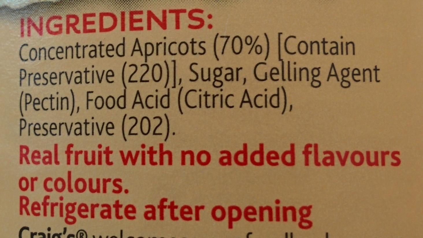 Apricot Lite Fruit Spread - Ingredients - en