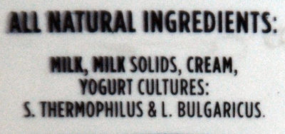 Greek Style All Natural Yogurt - Ingredients