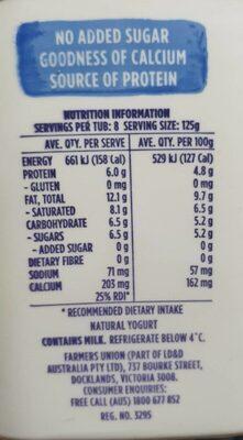 Farmers Union Greek Style Natural Yogurt - Nutrition facts - en