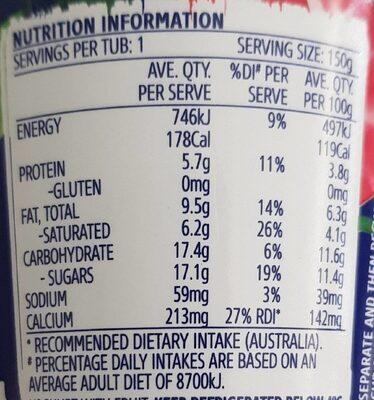 Thick & Creamy Field Strawberry Yoghurt - Nutrition facts - en