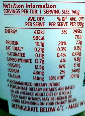 Bon Apetit Super Thick Greek Natural Yoghurt - Nutrition facts - en