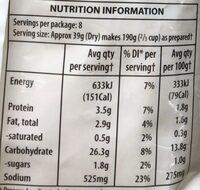 Instant mashed potato - Informations nutritionnelles - en