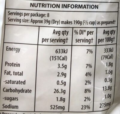Instant mashed potato - Nutrition facts - en