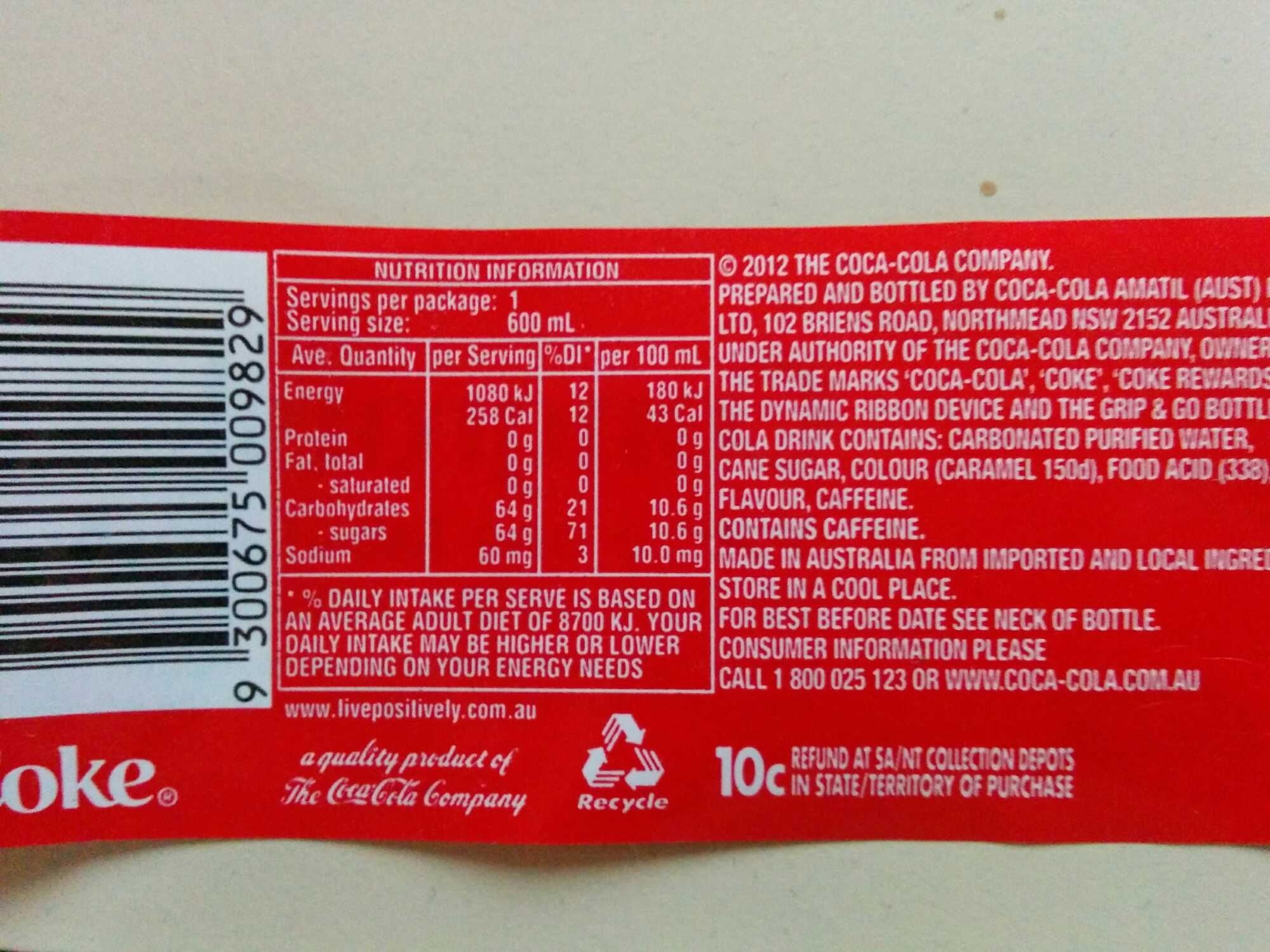 Coca Cola 600ml Bottle - Nutrition facts - en