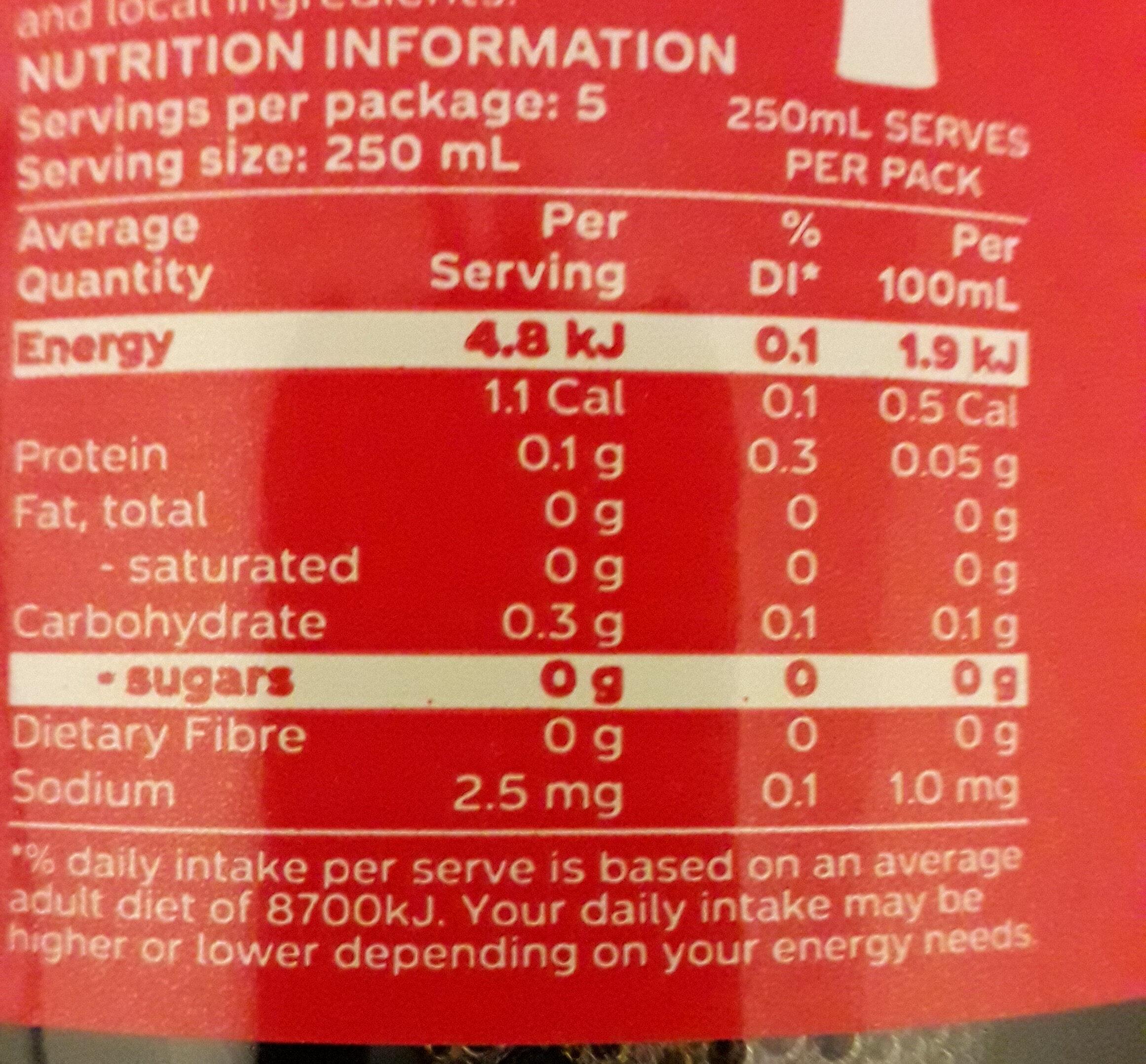 Diet sugar-free - Nutrition facts - en