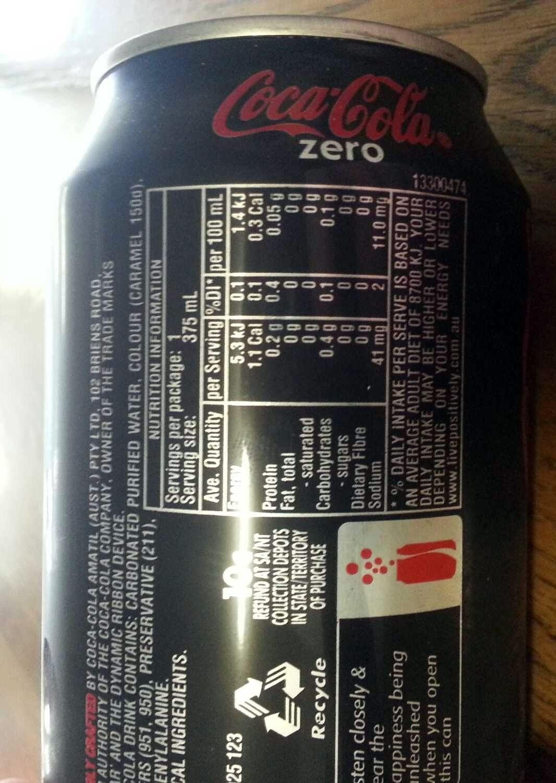 coke zero - coca-cola - 375 ml