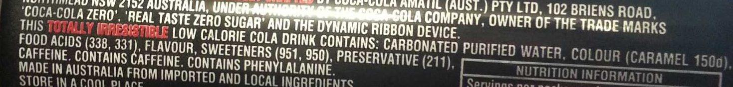 Coke Zero - Ingredients