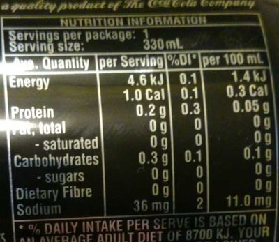 Coke Zero - Nutrition facts - en