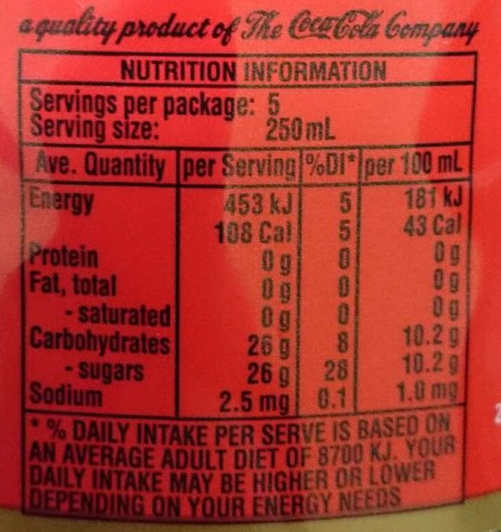 Coke Ginger - Nutrition facts