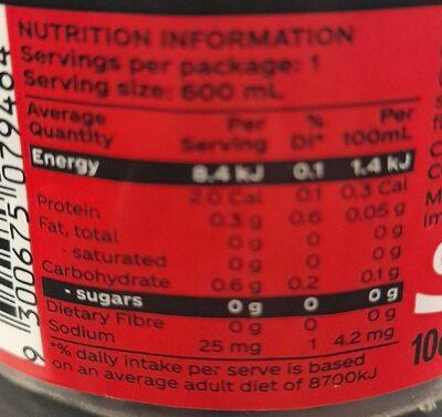 Coca-Cola No Sugar - Nutrition facts - en