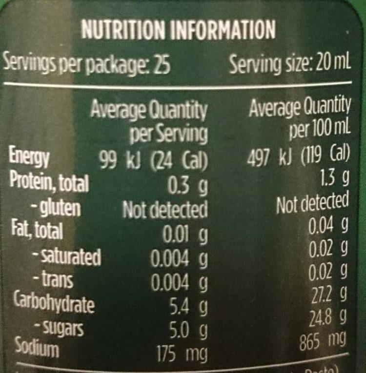 Fountain Tomato Sauce - Nutrition facts