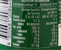 Tomato sauce - Nutrition facts - en