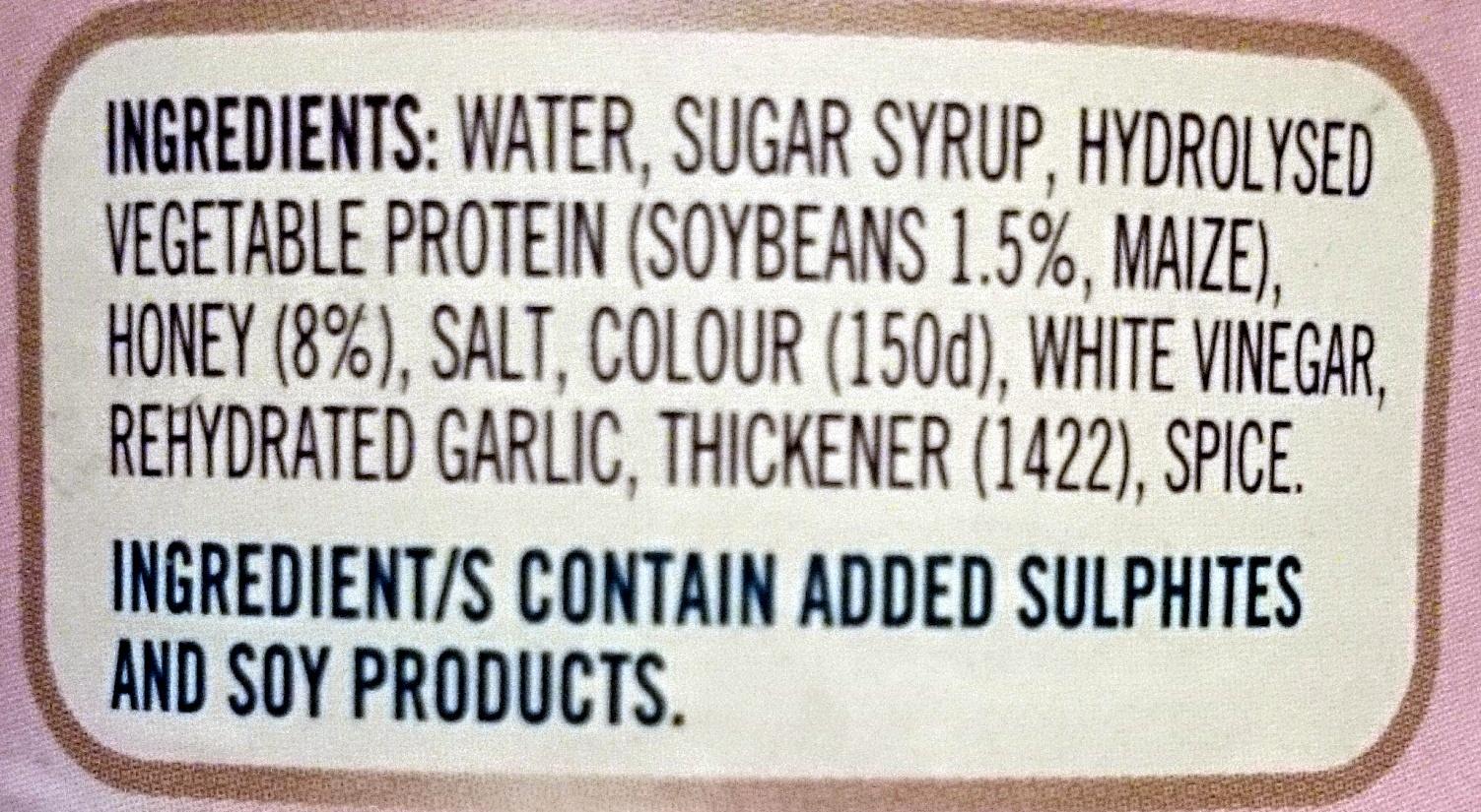 Fountain Soy & Honey Sauce - Ingredients - en