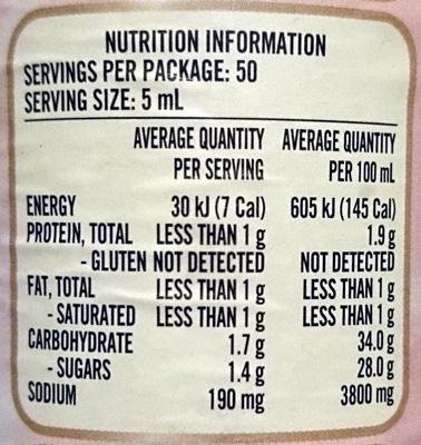 Fountain Soy & Honey Sauce - Nutrition facts - en