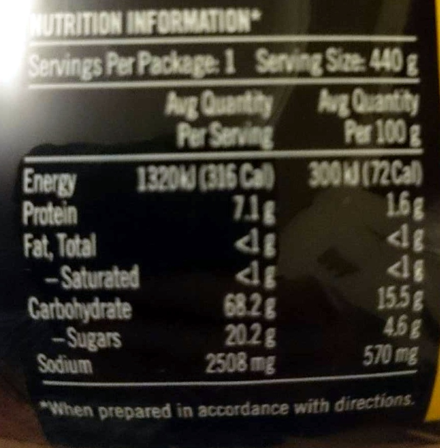 Chinese Hot and Sour Instant Noodle Soup - Nutrition facts - en