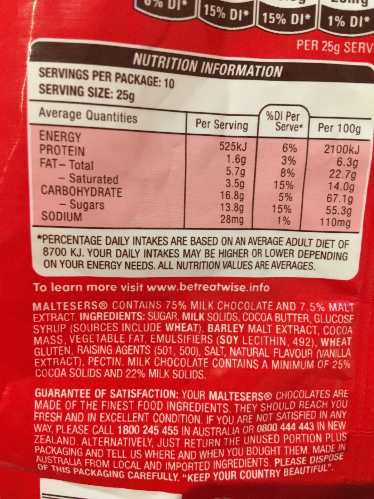 Maltesers - Ingredients