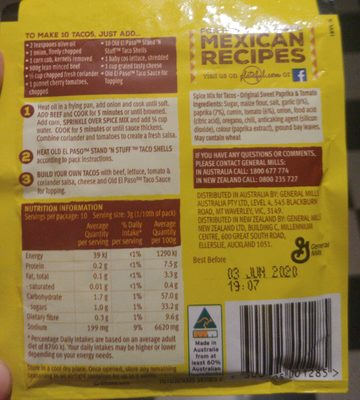 Spice Mix for Tacos, Sweet Paprika & Tomato - Nutrition facts