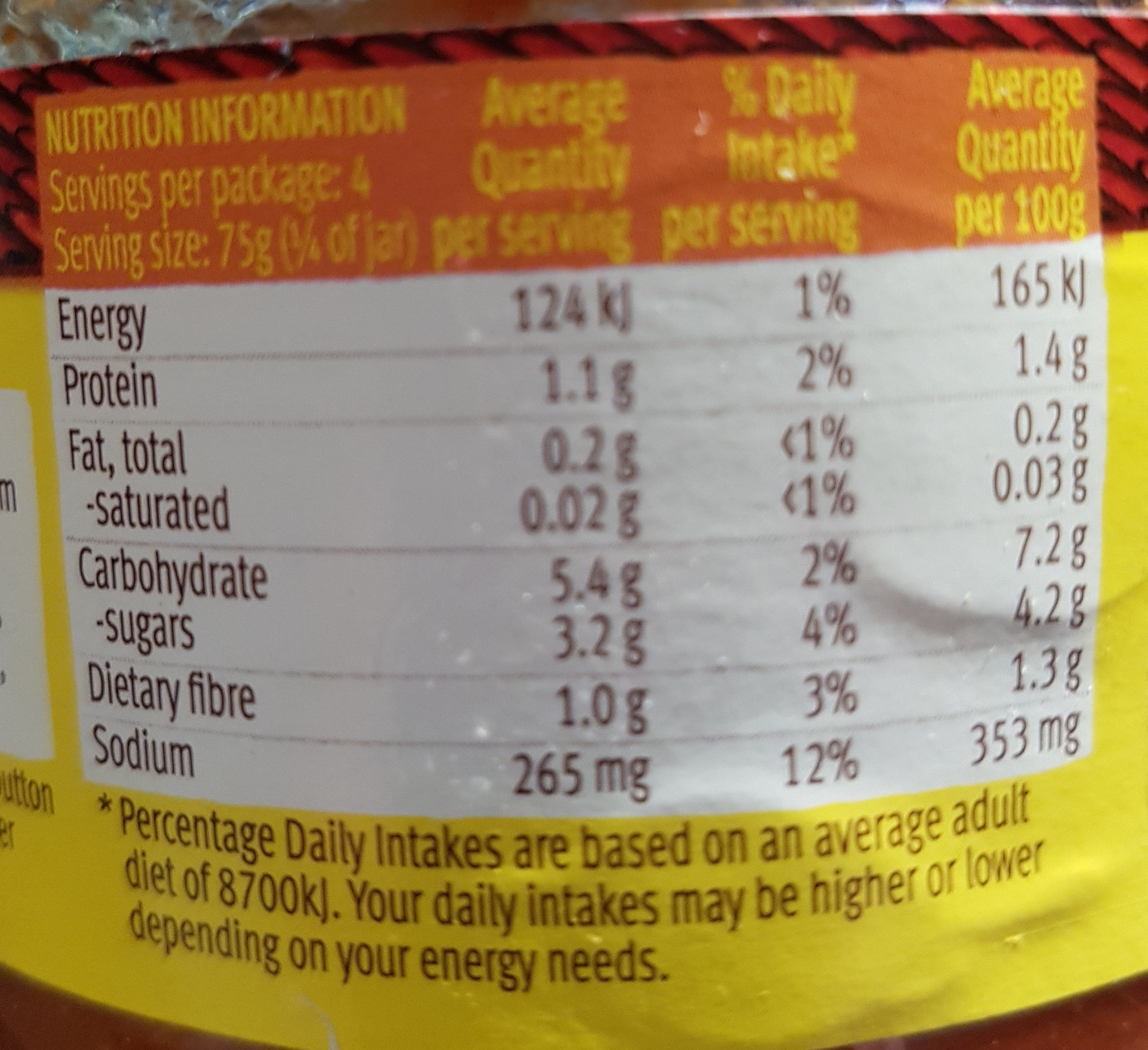 chunky salsa - Nutrition facts