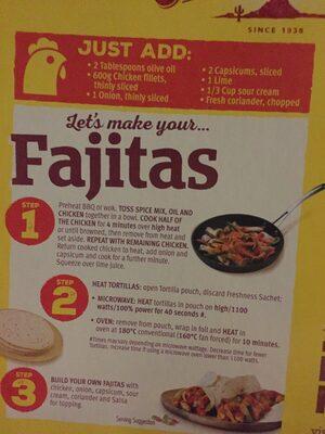 Old El Paso Mexican Fajita Kit - Ingredients