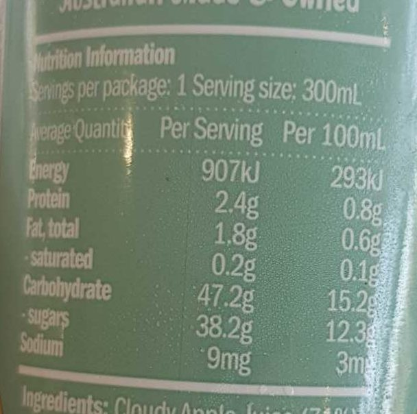 Breakfast Smoothie - Nutrition facts