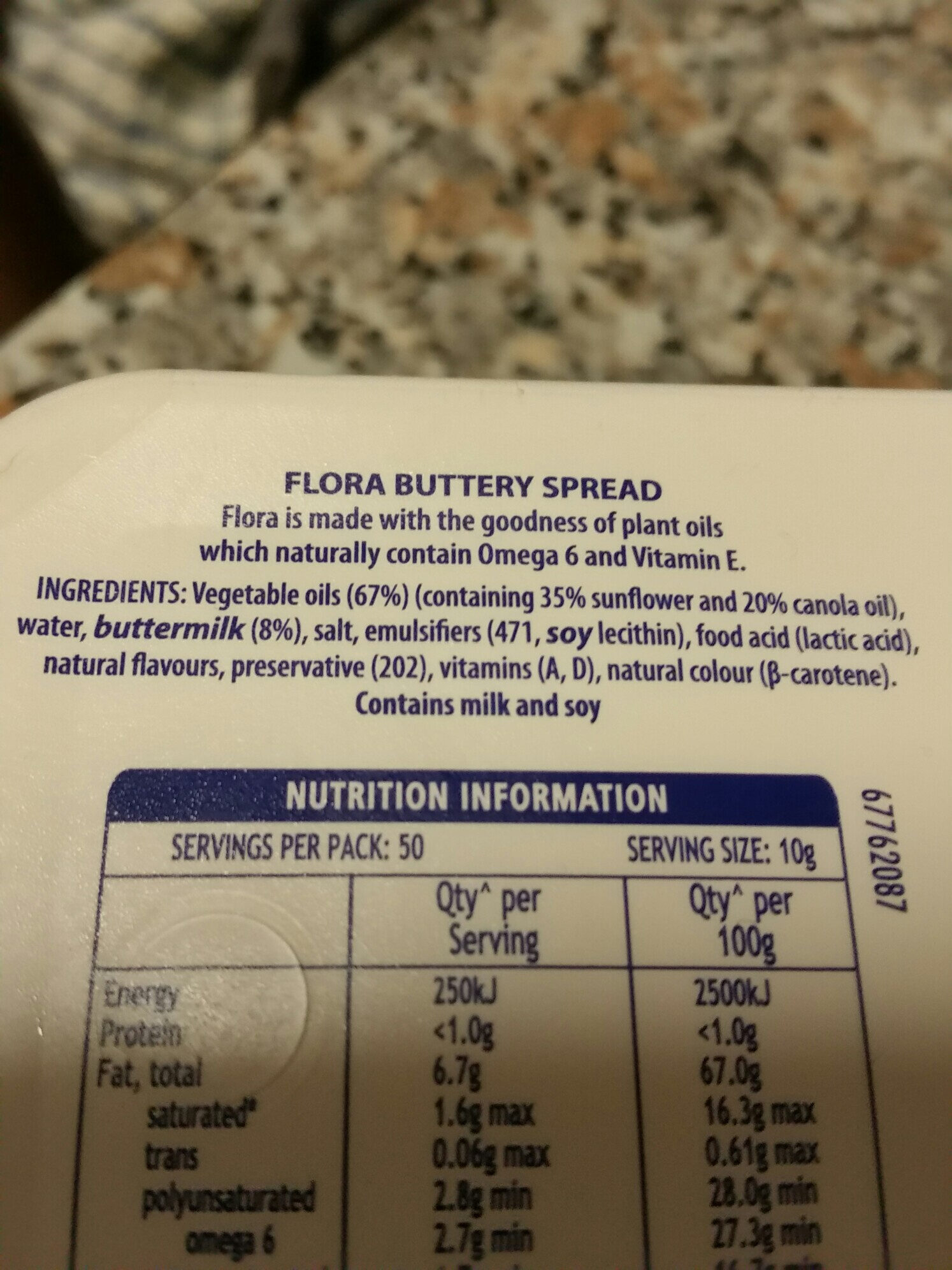 Flora Buttery - Ingredients