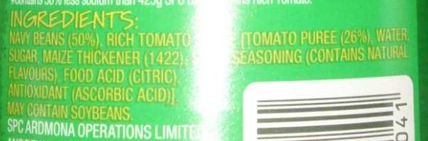 SPC Salt Reduced Baked Beans - Ingredients - en
