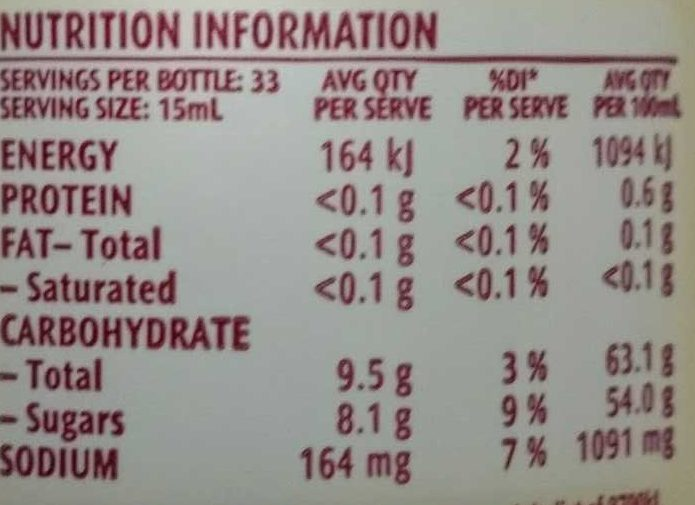MasterFoods Barbecue Sauce - Nutrition facts - en