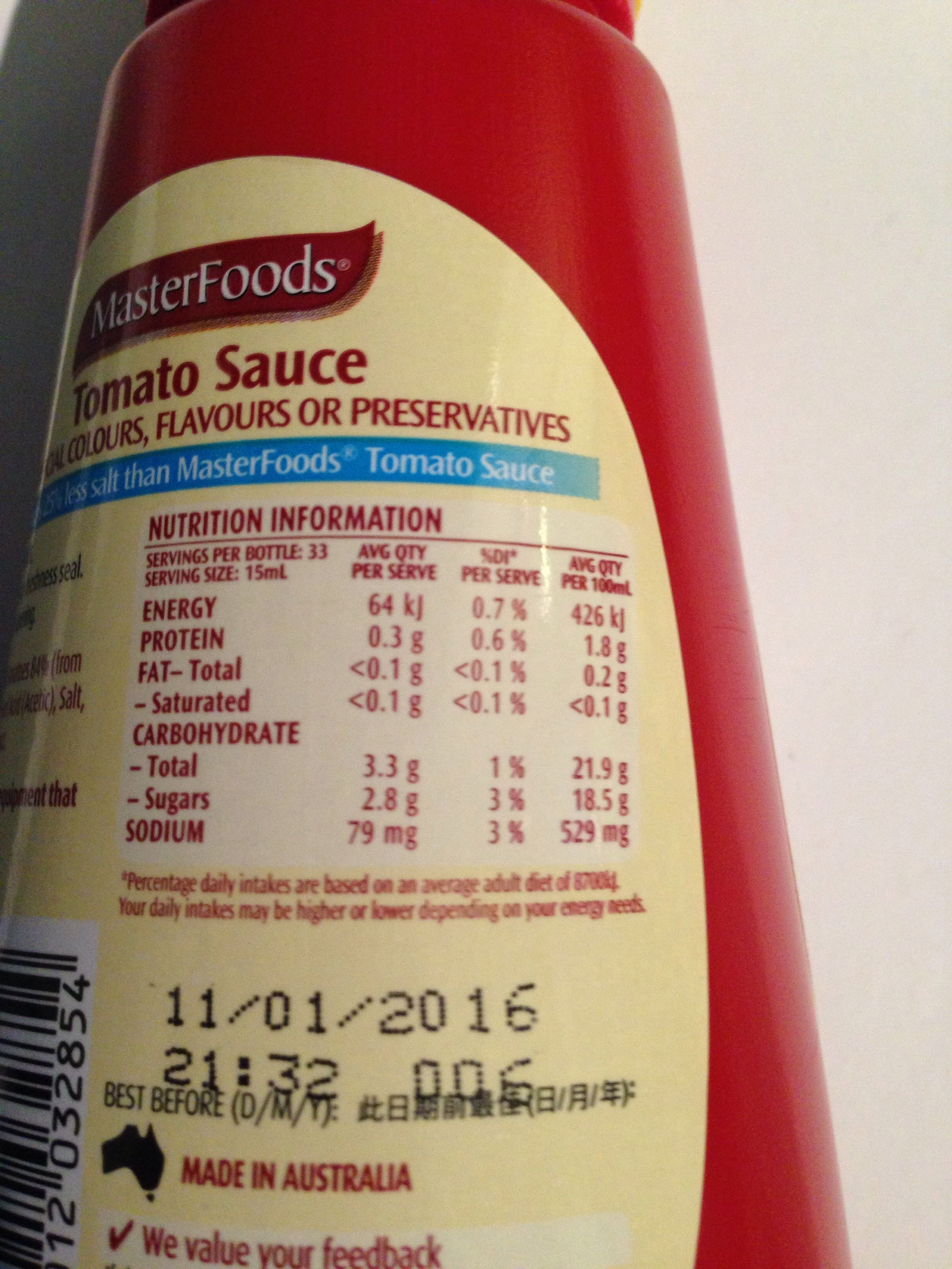 MasterFoods Reduced Salt Tomato Sauce - Nutrition facts - en