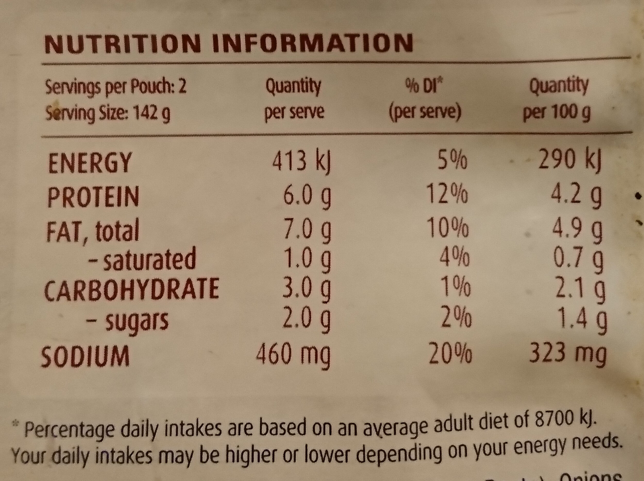 Indian Style Kashmir Spinach Heat and Eat - Nutrition facts - en