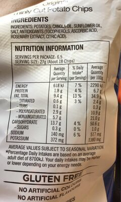 Thinly Cut - Nutrition facts