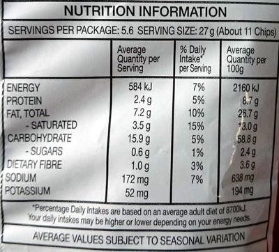 Doritos Roulette - Nutrition facts