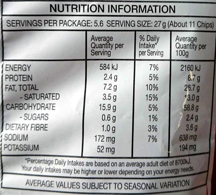 Doritos Roulette - Nutrition facts - en