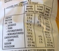 Smith's - Nutrition facts - en